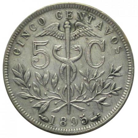 """1895 * 5 Centavos Bolivia """"Caduceus"""" (KM 173.2) XF"""