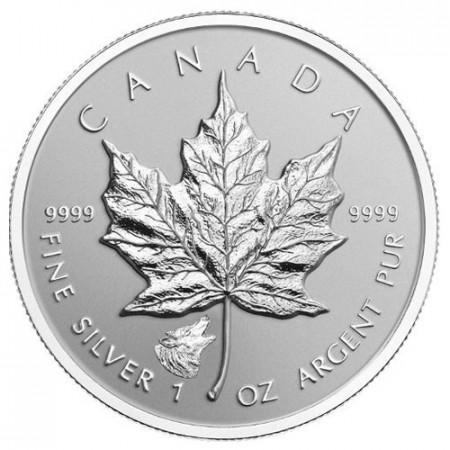 """2016 * 5 Dollars Silver 1 OZ Maple Leaf Canada """"Wolf"""" Privy Mark"""