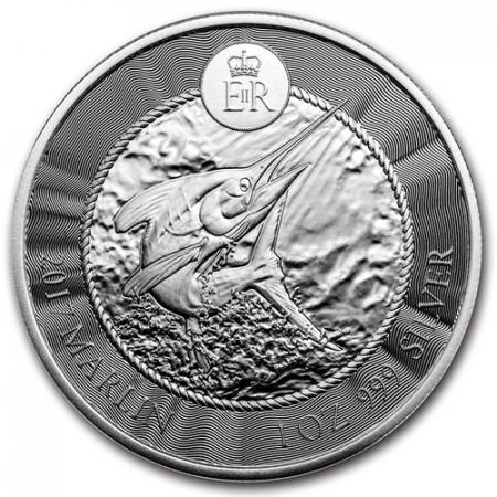 """2017 * 1 Dollar Silver 1 OZ Cayman Islands """"Blue Marlin"""" BU"""