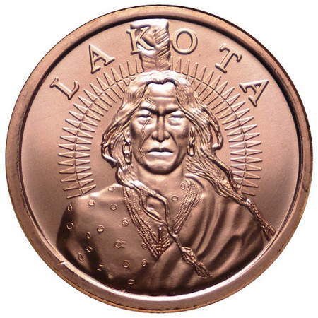"2014 * Copper round United States Copper medal ""Lakota Indian"""