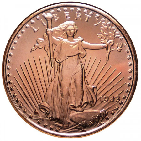 "2014 * Copper round United States Copper medal ""Saint-Gaudens"""