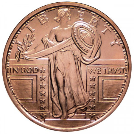 """2014 * Copper round United States Copper medal """"Standing Liberty"""""""