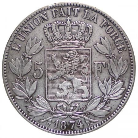 "1874 * 5 Francs silver Belgium ""Leopold II"" VF+"