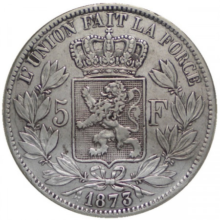 "1873 * 5 Francs silver Belgium ""Leopold II"" Type A VF"