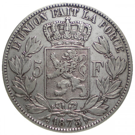 """1873 * 5 Francs silver Belgium """"Leopold II"""" Type A VF"""