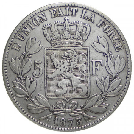 """1873 * 5 Francs silver Belgium """"Leopold II"""" Type A VF-"""