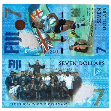 """2016 * Banknote Fiji 7 Dollars """"Rugby 7s Gold Medal Win"""" (pNew) UNC"""