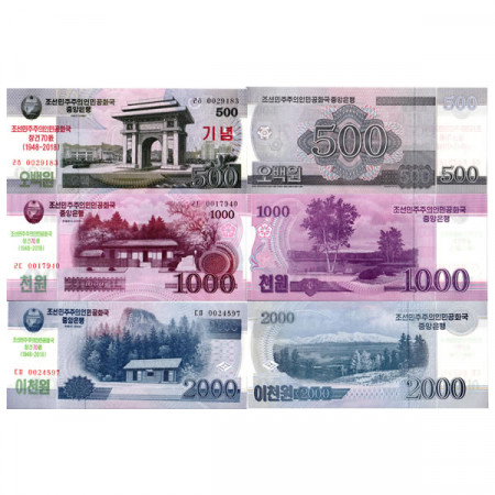 "2008 (2018) * Set 3 Banknotes North Korea 500, 1000, 2000 Won ""70th Anniversary of DPRK"" (pCS-New) UNC"