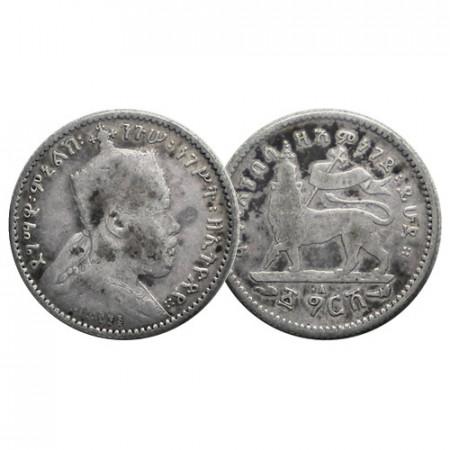 """EE 1895 (1902-03) A * 1 Gersh Silver Ethiopia """"Menelik II - Lion"""" (KM 12) F"""