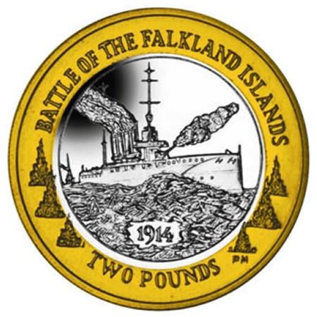 """2014 * 2 Pounds Falkland Islands """"Centennial of the Battle"""""""