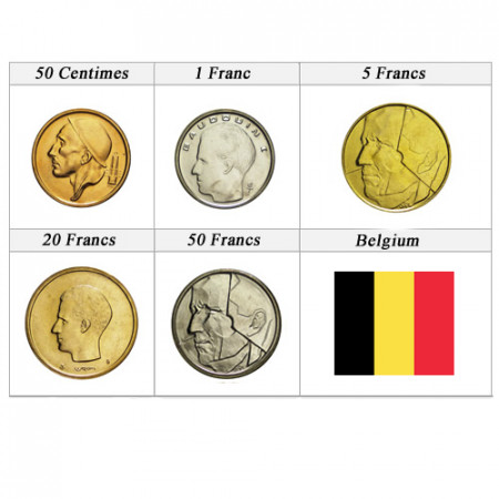 """Mixed Years * Series 5 Coins Belgium """"Francs"""" UNC"""