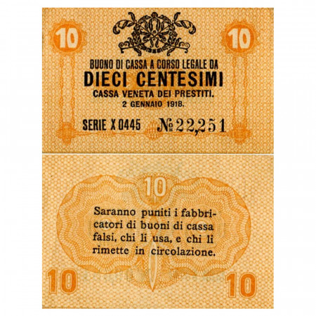 "1918 * Banknote Italy 10 Centesimi ""Buono di Cassa Veneta - Austro-German Occupation"" (pM2) aUNC"