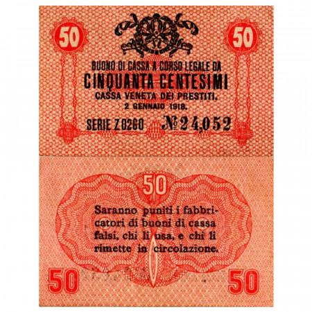 "1918 * Banknote Italy 50 Centesimi ""Buono di Cassa Veneta - Austro-German Occupation"" (pM3) aUNC"