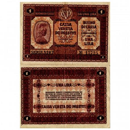 """1918 * Banknote Italy 1 Lira """"Buono di Cassa Veneta - Austro-German Occupation"""" (pM4) VF"""