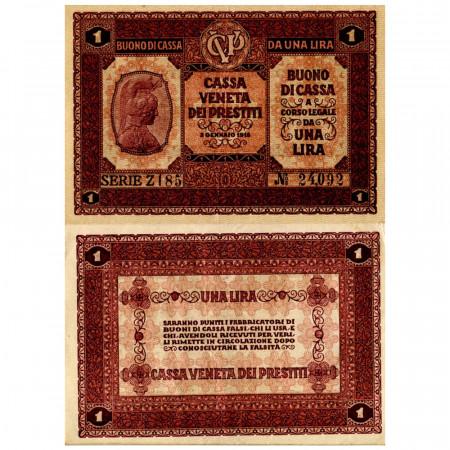 """1918 * Banknote Italy 1 Lira """"Buono di Cassa Veneta - Austro-German Occupation"""" (pM4) XF"""