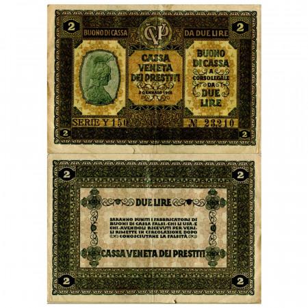 """1918 * Banknote Italy 2 Lire """"Buono di Cassa Veneta - Austro-German Occupation"""" (pM5) VF"""