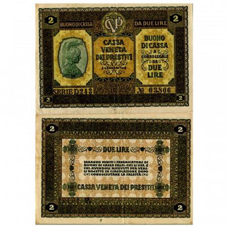 """1918 * Banknote Italy 2 Lire """"Buono di Cassa Veneta - Austro-German Occupation"""" (pM5) XF"""