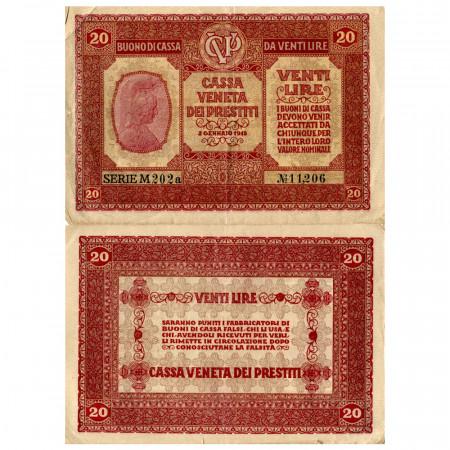 """1918 * Banknote Italy 20 Lire """"Buono di Cassa Veneta - Austro-German Occupation"""" (pM7) F"""