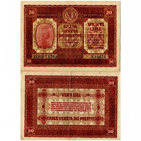 """1918 * Banknote Italy 20 Lire """"Buono di Cassa Veneta - Austro-German Occupation"""" (pM7) XF"""