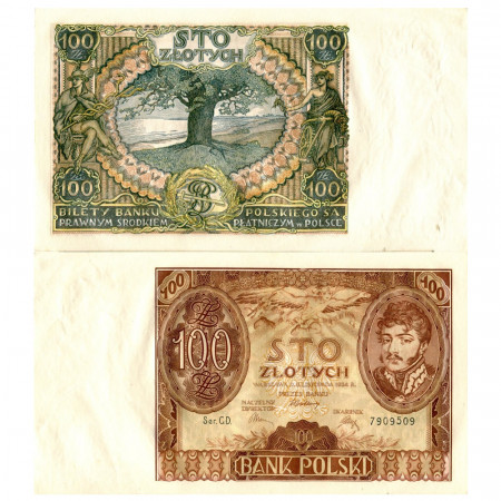 """1934 * Banknote Poland 100 Zlotych """"Józef Antoni Poniatowski"""" (p75a) UNC"""