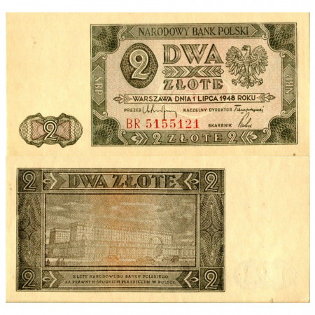 "1948 * Banknote Poland 2 Zlote ""Governmental Building"" (p134) UNC"
