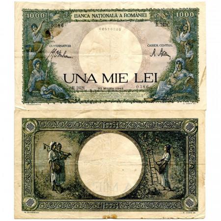 """1943 * Banknote Romania 1000 Lei """"Kingdom of Romania"""" (p52a) aVF"""