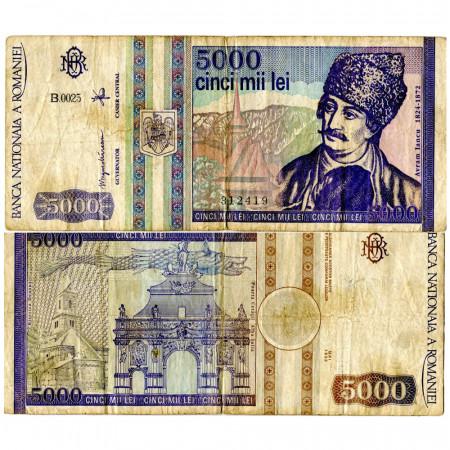 """1993 * Banknote Romania 5000 Lei """"Avram Iancu"""" (p104a) F"""