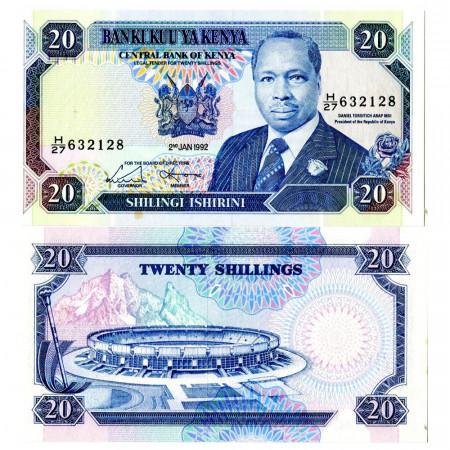 "1992 * Banknote Kenya 20 Shillings ""President Arap Moi"" (p25e) UNC"