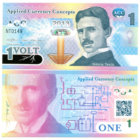 "2013 * Banknote Polymer Applied Currency Concepts 1 Volt ""Nikola Tesla"" UNC"
