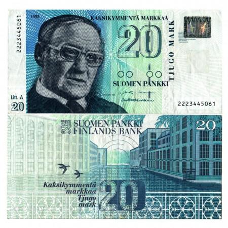 """1993 (1997) A * Banknote Finland 20 Markkaa """"Vaino Linna - Litt. A"""" (p123) VF"""