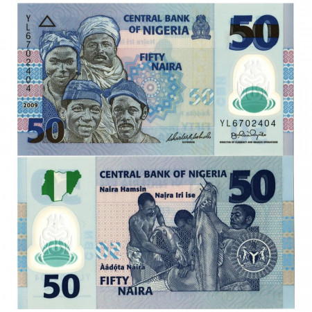 """2009 * Banknote Polymer Nigeria 50 Naira """"Ethnic groups of Nigeria"""" (p40a) UNC"""