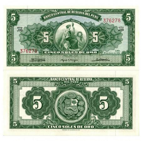 """1965 * Banknote Peru 5 Soles de Oro """"Liberty"""" (p83a) UNC"""