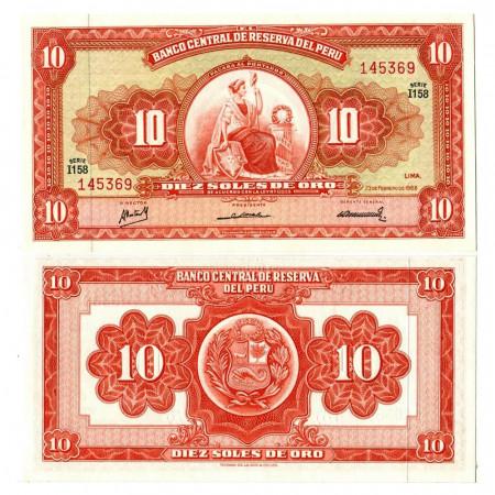 """1968 * Banknote Peru 10 Soles de Oro """"Liberty"""" (p84a) UNC"""