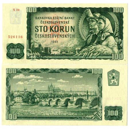 "1961 * Banknote Czechoslovakia 100 Korun ""Charles Bridge"" (p91c) UNC"