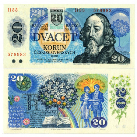"""1988 (1993) * Banknote Slovakia 20 Korun """"Ján Amos Koménsky"""" (p15) UNC"""