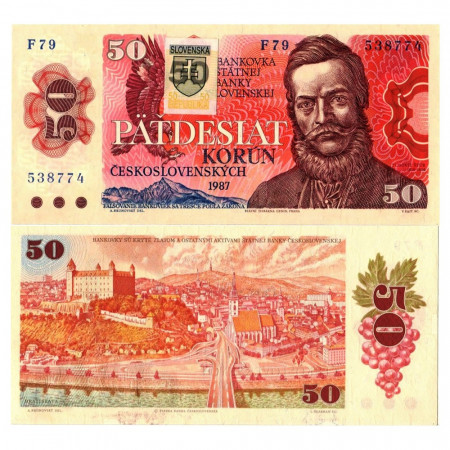 "1987 (1993) * Banknote Slovakia 50 Korun ""Ludovít Štúr"" (p16) UNC"