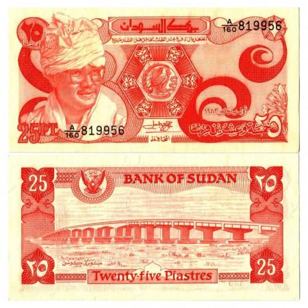 """1983 * Banknote Sudan 25 Piastres """"Jafar An-Numeiri"""" (p23a) UNC"""