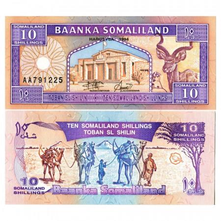 """1994 * Banknote Somaliland 10 Shillings =10 Shilin """"Goodirka"""" (p2a) UNC"""