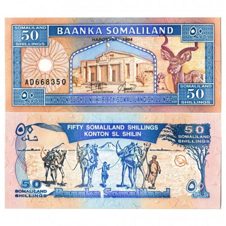"""1994 * Banknote Somaliland 50 Shillings =50 Shilin """"Goodirka"""" (p4) UNC"""