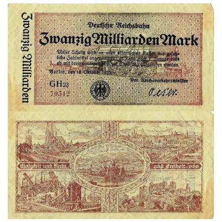 "1923 * Banknote Germany Railroads 20 Billion - 20.000.000.000 Mark ""Deutsche Reichsbahn Berlin"" (pS1022) VF"