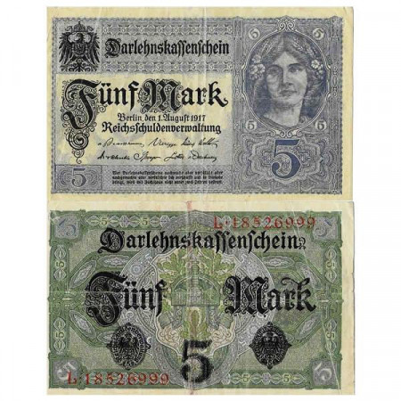 "1917 * Banknote Germany Empire 5 Mark ""Deutsches Reich"" (p56b) VF"