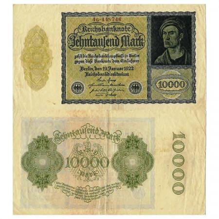 """1922 * Banknote Germany Weimar 10.000 Mark """"Reichsbanknote"""" (p72) VF"""