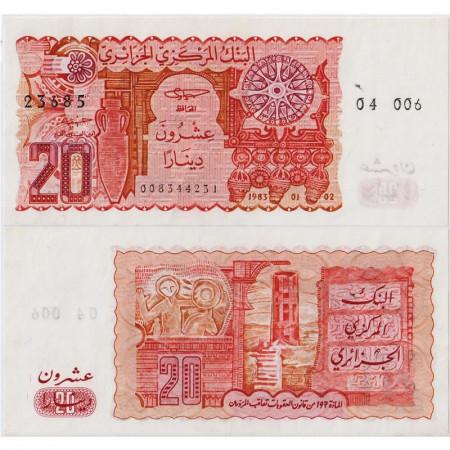 """1983 * Banknote Algeria 20 Dinars """"Amphora"""" (p133a) XF"""