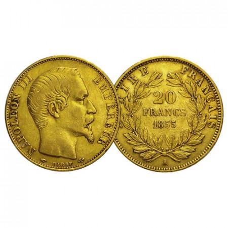 "1855 A * 20 Francs Gold France ""Napoleon III – Right Head"" (KM 781.1) VF"