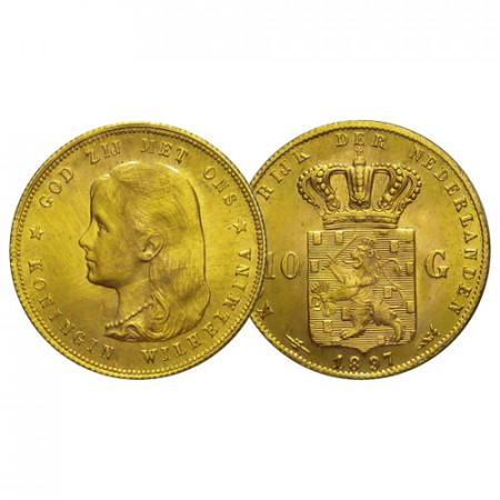 """1897 * 10 Gulden Napoleon Gold Netherlands """"Wilhelmina I"""" (KM 118) UNC"""