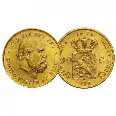 """1875 * 10 Gulden Gold Netherlands """"William III"""" (KM 105) UNC"""