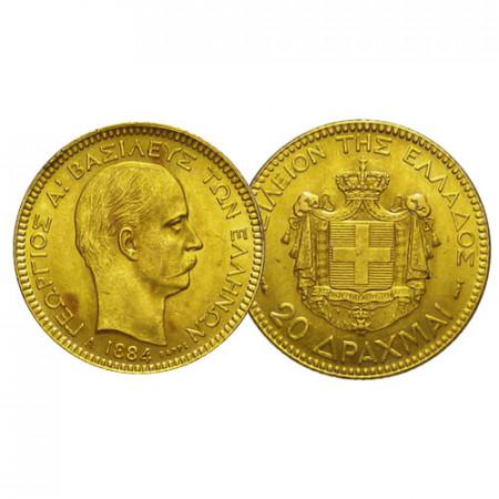 "1884 A * 20 Drachmai Gold Greece ""George I"" (KM 56) UNC"