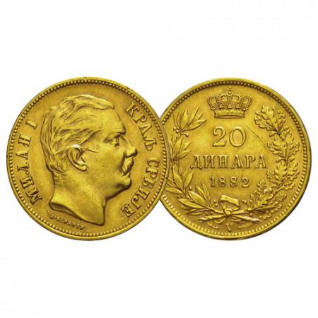 """1882 V * 20 Dinara Gold Serbia """"Milan I - King"""" (KM 17.1) XF"""