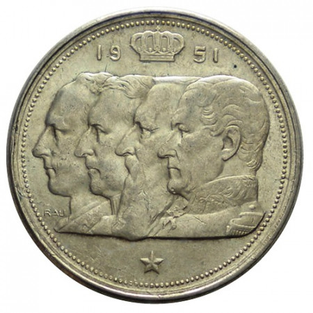 "1951 * 100 Francs Silver Belgium ""Leopold III"" (KM 139.1) XF"