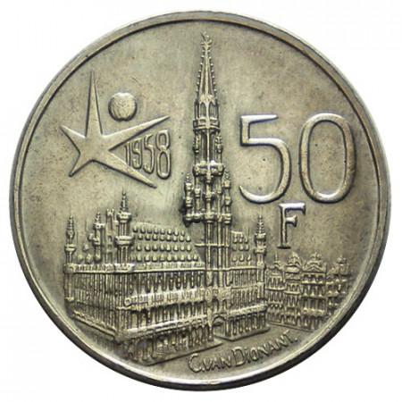 """1958 * 50 Francs Silver Belgium """"Baudouin"""" (KM 150.1) UNC"""